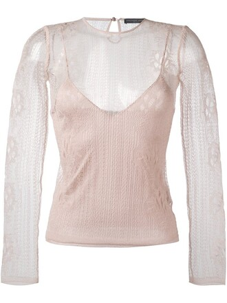 top lace top knit metallic women lace silk purple pink