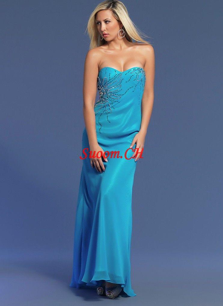 A-Linie Blau Chiffon Abendkleider Mit Friesens - Suoom.CH