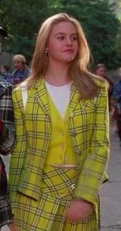 skirt,cher clueless yellow plaid skirt blazerer