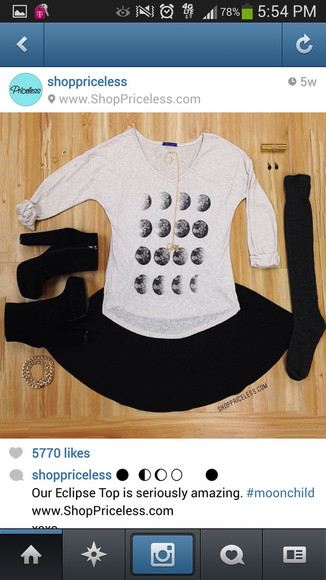 shirt moon long sleeve crecent white t-shirt blouse moonphases jewels