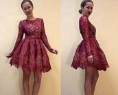 dress,long sleeve dress,red dress,red,lace dress,short homecoming dress