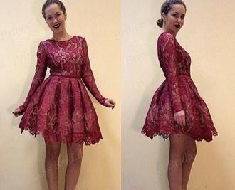 dress long sleeve dress red dress red lace dress short homecoming dress