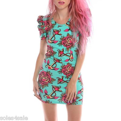 Iron fist love me not bow back dress teal anchor rose tattoo design  all sizes
