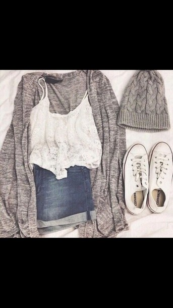 shoes top cardigan