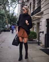 sweater,turtleneck sweater,mini skirt,suede,thigh high boots,handbag,sunglasses