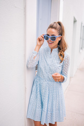dress,tumblr,mini dress,blue dress,light blue,lace dress,long sleeves,long sleeve dress,sunglasses