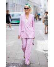 pink blazer,oversized,button up,wide-leg pants,pink pants,cat eye,handbag