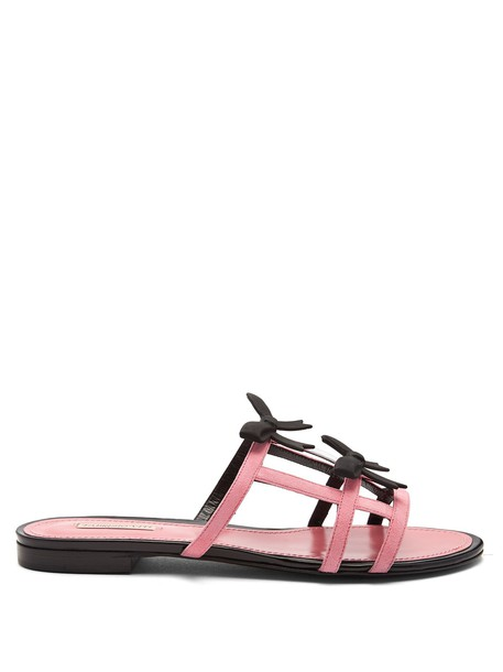 bow sandals suede pink shoes