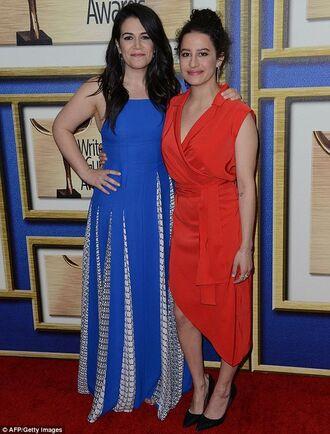 dress ilana glazer abbi jacobson asymmetrical dress orange dress wrap dress blue dress maxi dress long dress pleated dress celebrity style celebrity red carpet
