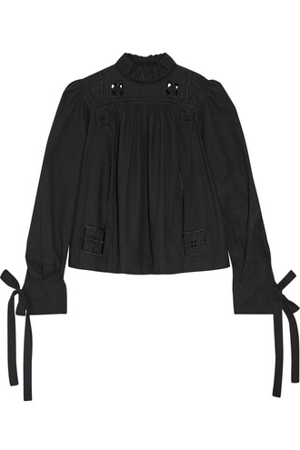 blouse cotton black top