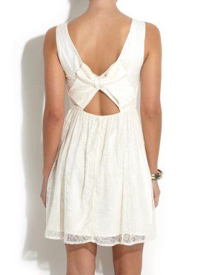White bow back lace dress