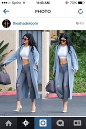 coat,jeans,kylie jenner,blouse,cardigan,jacket,blue,grey,long,kylie jenner cardigan