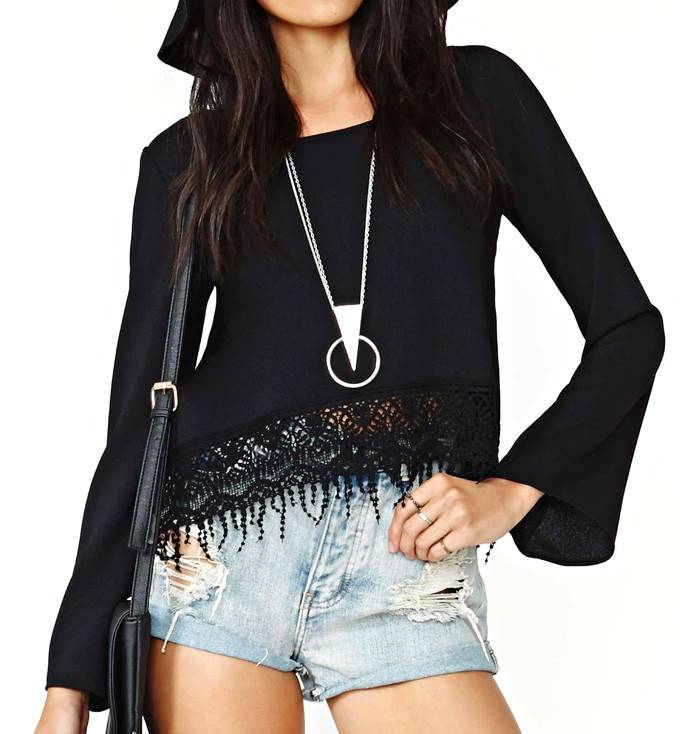 Bell Sleeve Crop Top With Crochet Lace Hem