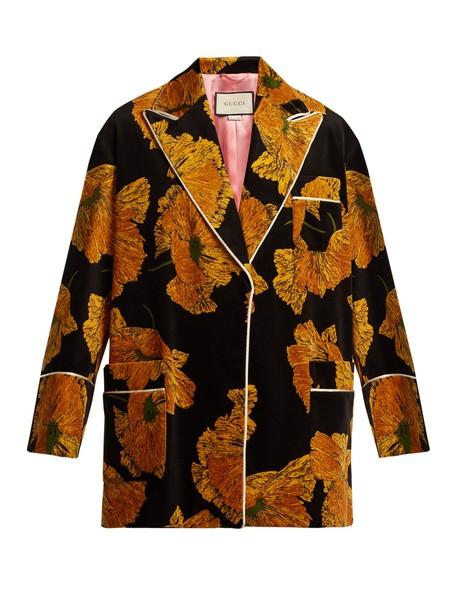 gucci jacket print velvet black