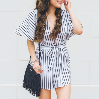 gracefullee made blogger dress jewels romper black bag fringes black and white v neck