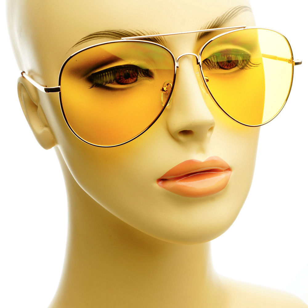 Large Gold Metal Retro Fashion Night Driving Yellow Lens Aviator Sunglasses | eBay
