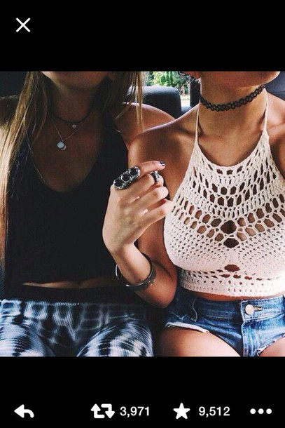 shirt crochet white crop tops summer crop tops black and white