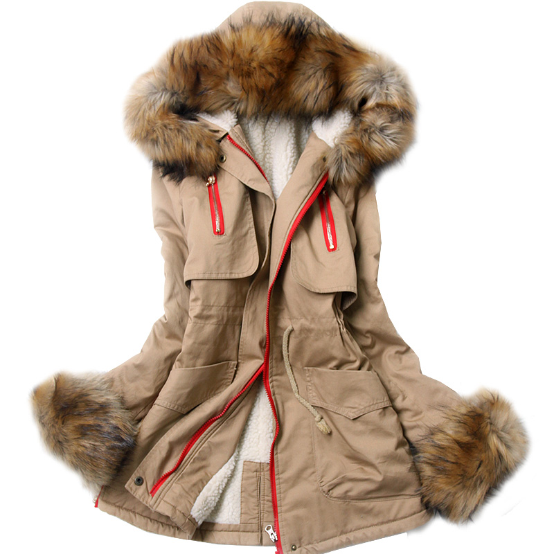 Winter 2014 women's slim with a hood large fur collar wadded jacket plus size parka women coats winter fashion 2014-inDown & Parkas from Apparel & Accessories on Aliexpress.com
