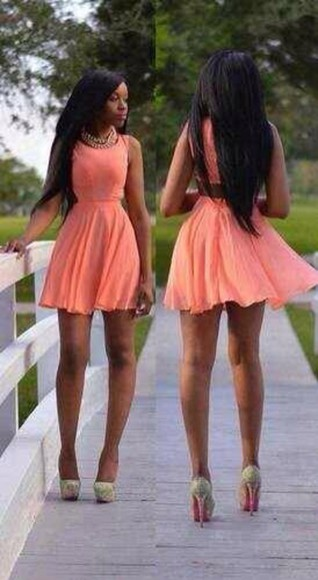 pink sunglasses coral dress backless dress