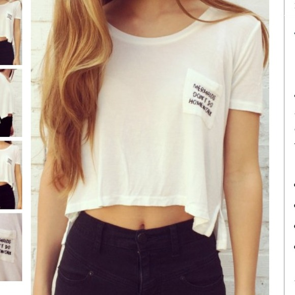 Brandy melville mermaids don't do homework tee from sara's closet on poshmark