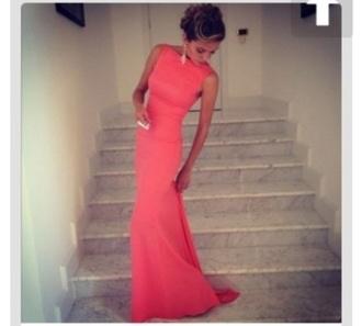dress pink prom long dress coral dress