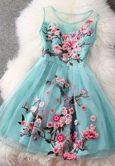 dress floral tulle cherry blossom mint sakura flowers embroidery blue dress pink flowers pink, blue, print, flowers, crop top, crop, tops, blue pale blue, pink flowers, bustier dress