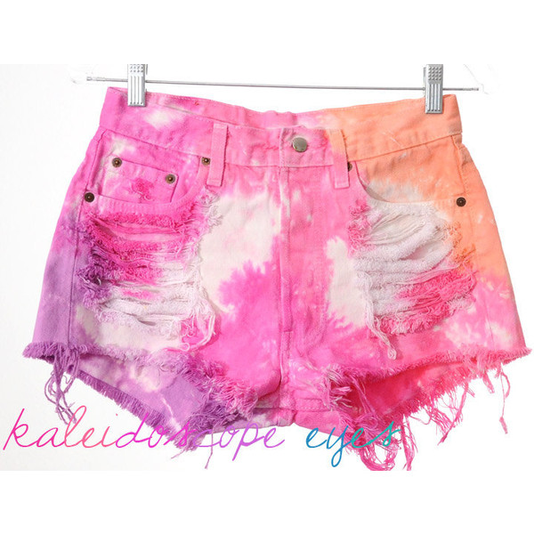 Vintage LEVIS 501 Destroyed COLORFUL Pastel Tie Dyed Denim H... - Polyvore