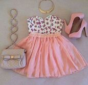 tank top,pink,peach,skirt,pink skirt,pink shoes,purse,silver,gold,white,floral,purple,floral tank top,bag,shoes,shirt,crop tops,strapless,dress