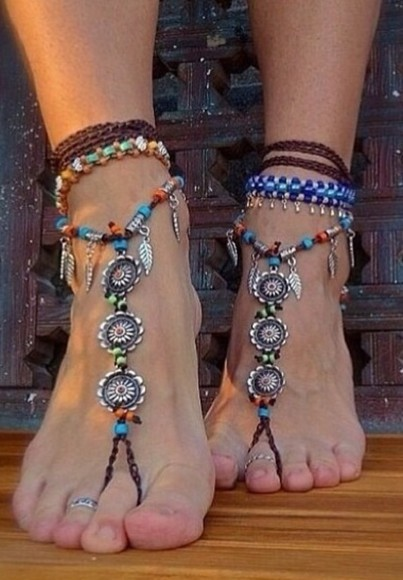 orange green jewels anklet