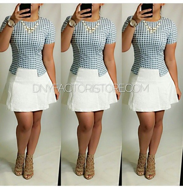 skirt top necklace accessories jewels houndstooth white skirt shoes high heels heels watch