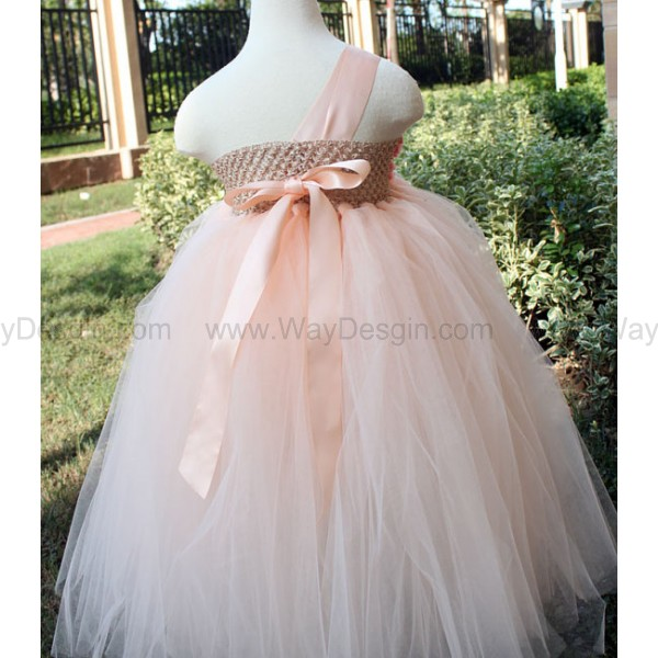 20e7f0f0f Flower Girl Dress peach coral tutu dress baby dress toddler birthday dress  wedding dress