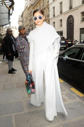 sweater turtleneck grey wide-leg pants zendaya streetstyle paris fashion week 2016 fashion week 2016 sunglasses purse
