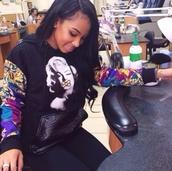 sweater,marilyn monroe,leather,crocodile,versace print,hoodie,sweatshirt,hipster,jacket,marilyn monroe hoodie,black,black hoodie,aztec,cardigan,marylin monroe,marilyn monroe sweatshirt