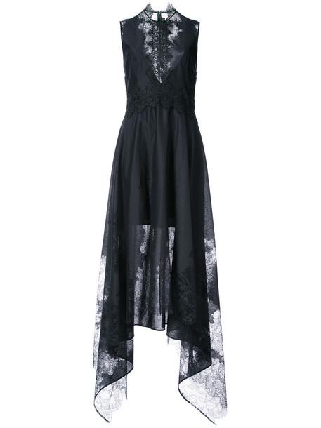 Nha Khanh dress high women high low lace cotton black