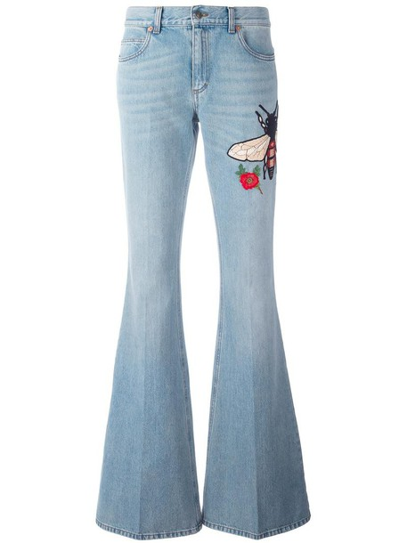 jeans denim embroidered women cotton blue