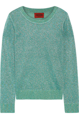 sweater knit metallic crochet turquoise