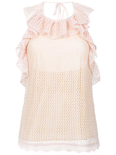 top women cotton purple knit pink