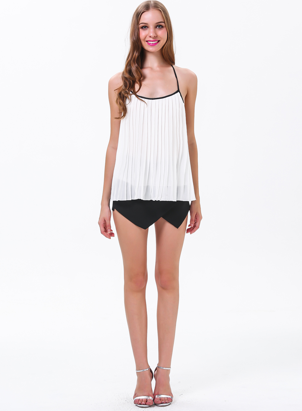White Spaghetti Strap Backless Pleated Top - Sheinside.com