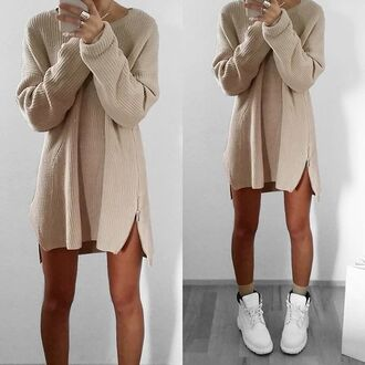 sweater beige zip oversized sweater dress sweater dress casual dress comfy