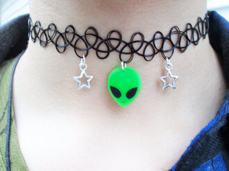 jewels black green charm choker necklace black choker charm green dress stars alien ayy lmao white stars