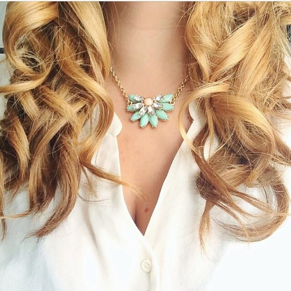 jewels necklace gold white gold necklace gold jewelry turquoise turquoise jewelry shirt white shirt