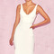 Clothing : bodycon dresses : 'hama' white piped flare hem midi dress