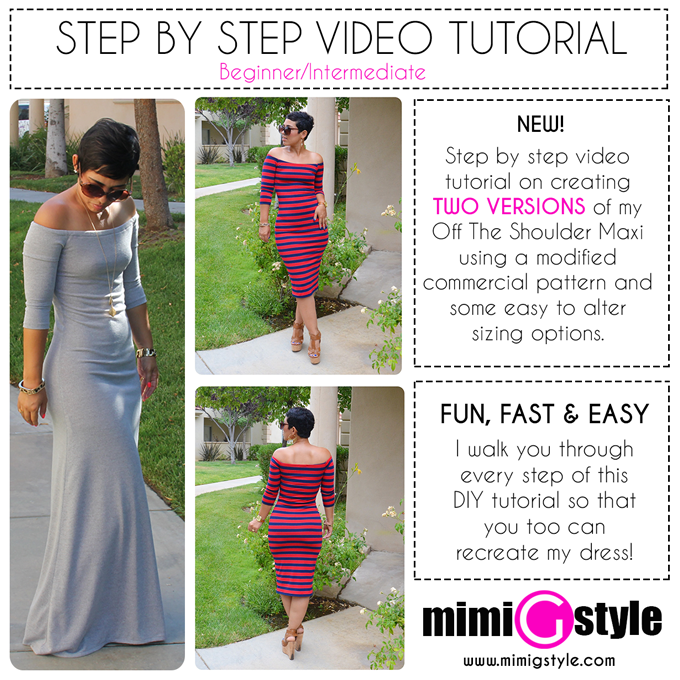 Off The Shoulder Dress w/ Short Option Tutorial / Mimi G Style