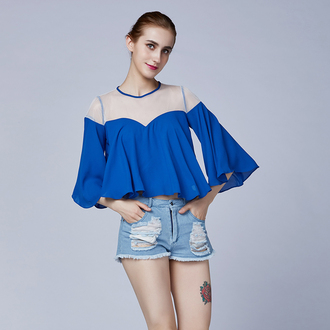 shirt blue blouse blue bell sleeves three-quarter sleeves