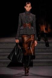 jacket,skirt,leather skirt,belt,fall outfits,fall jacket,midi skirt,NY Fashion Week 2016,boots,runway,model