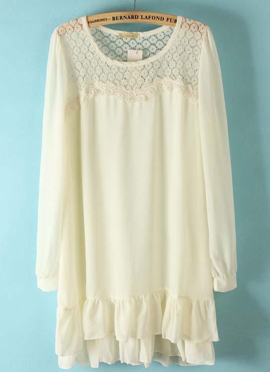 White long sleeve lace shoulder ruffles chiffon dress