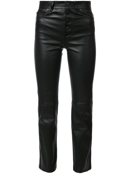 cropped women leather black pants