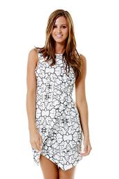 dress,ustrendy dress,asymmetrical hem,bodycon dress,black and white dress,black and white,loud print,ustrendy