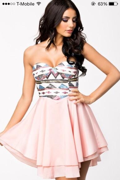 dress aztec chiffon pink