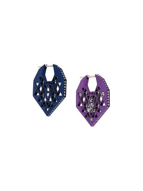 Noor Fares women earrings gold white blue jewels